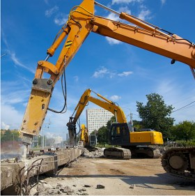 Buildings demolition of and construction waste removal